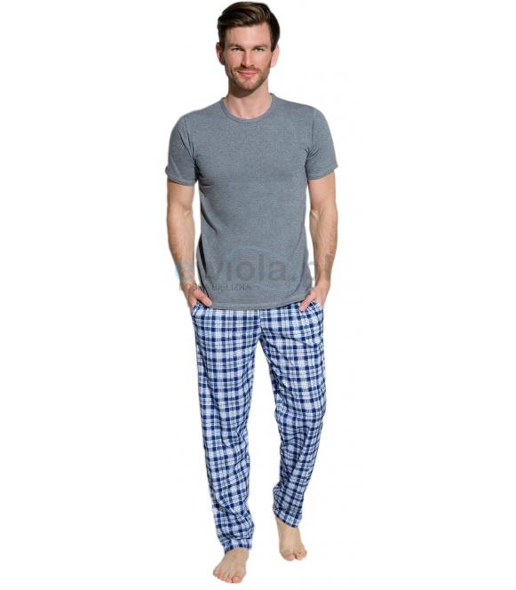 piżama męska bawełniana koszulka krótki rękaw spodnie długie z kieszeniami w modną kratę taro Jeremi 2199