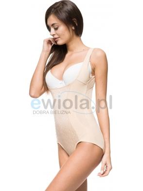 bielizna damska body wyszczuplające modelujące korygujące sylwetkę beżowe delikatny motyw z przodu pod biust