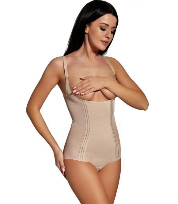 damskie body wyszczuplające pod biust regulowane ramiączka i zapięcie w kroku firmy darex leegard frida dwa kolory