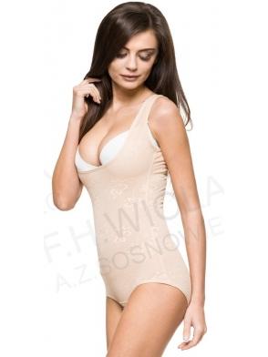 body wyszczuplające  modelujące gorset PERFECT FIGURE pod biust z regulacją na trzy rzędy haftek w kroku cieliste