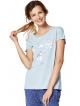 piżama damska dwuczęściowa krótki rękaw koszulka z modnym nadrukiem spodnie 3/4 granatowe w kropki