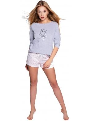 sensis lievre piżama damska dwuczęściowa koszulka z motywem kotka spodenki krótkie z delikatnym nadrukiem