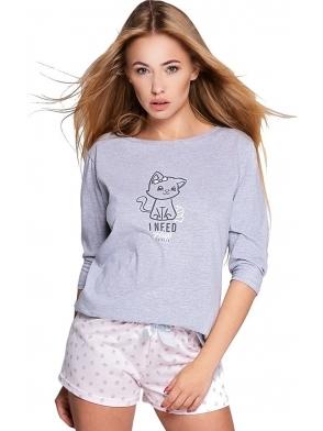 sensis piżamka dwuczęściowa damska koszulka z nadrukiem uroczego kotka rękaw 3/4 spodenki białe z nadrukiem