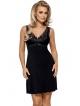 nipplex bona seksowna czarna koszulka damska nocna z koronkowymi zdobieniami na szerszych ramiączkach