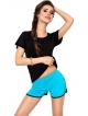 czarna koszulka i turkusowe szorty damskie dwuczęściowy komplet damski dkaren abigil