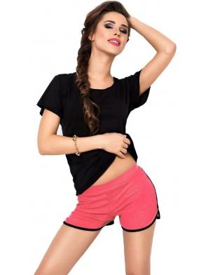 koralowo czarne spodenki i czarna koszulka dwuczęściowy komplet damski z miękkiej wiskozy dkaren abigil