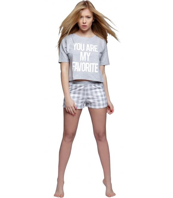 piżama damska spodenki w kratę krótkie koszulka z krótkim rękawem i modnym napisem sensis brooke