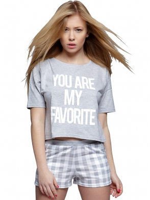 sensis piżama damska dwuczęściowa broke koszulka z krótkim rękawem i nadrukiem krótkie spodenki w kratę