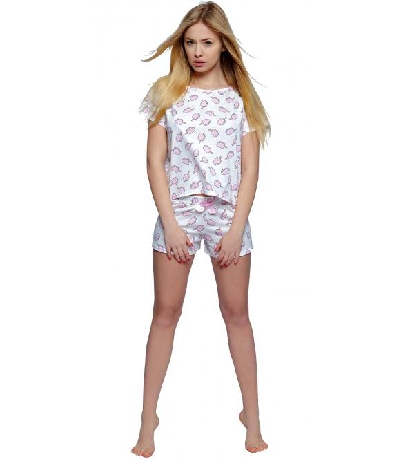piżama damska z nadrukiem lodów na patyku w kolorze różowym krótki rękaw i krótkie spodenki ze ściągaczem sensis ice cream