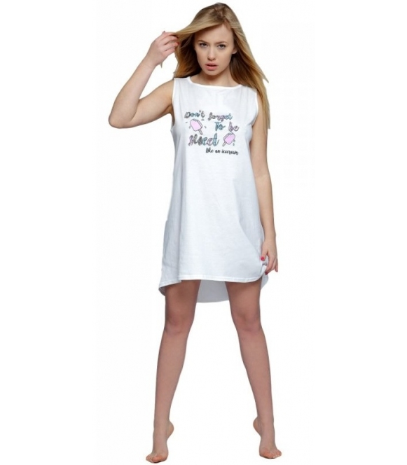bawełniana koszula nocna z nadrukiem lodów i modnym napisem kolor ecru szerokie ramiączka sensis lody