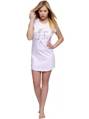 jasno różowa koszulka nocna w serduszka modny nadruk na piersiach sensis charlotte