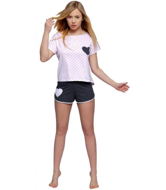 różowo grafitowa piżama damska krótki rękaw motyw drobnych derduszek na koszulce krótkie spodenki sensis juliette