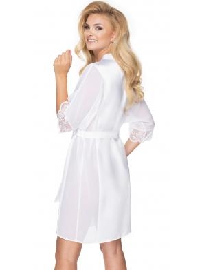 szlafrok damski satynowy szyfonowe rękawy kolor biały wiązany w pasie długość przed kolana irall sharon