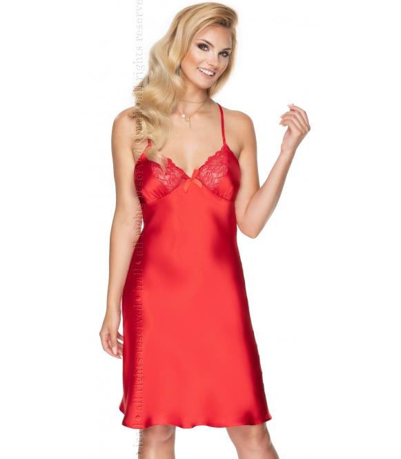 ognisto czerwona satynowa koszulka damska z koronkowymi miseczkami skrzyżowanymi na plecach regulowanymi ramiączkami irall remi