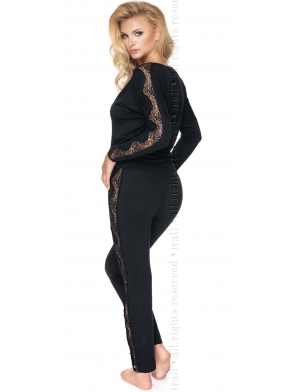 wiskozowo koronkowa piżama damska z długim rękawem i długimi spodniami na gumce irall pandora