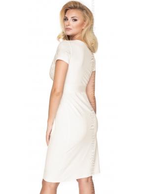 bielizna nocna wiskozowa koszula nocna w kolorze ecru długość do kolan krótki rękaw koronkowy dekolt irall gia