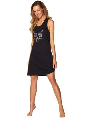 czarna koszula nocna na ramiączkach z modnym nadrukiem na piersi długość przed kolana rossli fiona