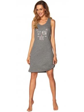 koszula nocna szary melange na ramiączkach krótka przed kolano modny napis z przodu rossli fiona