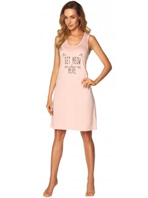 różowa koszula nocna tył w stylu bokserki z wycięciem długość przed kolano modny nadruk rossli fiona