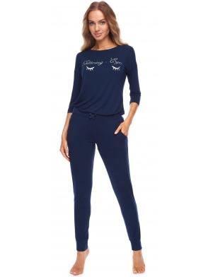 piżama damska z brokatową aplikacją na piersiach granatowa rękaw trzy czwarte spodnie długie na gumce rossli chiara