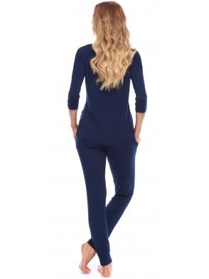 granatowa długa piżama damska dwuczęściowa długie spodnie rękaw trzy czwarte nadruk brokatowy na piersi rossli chiara