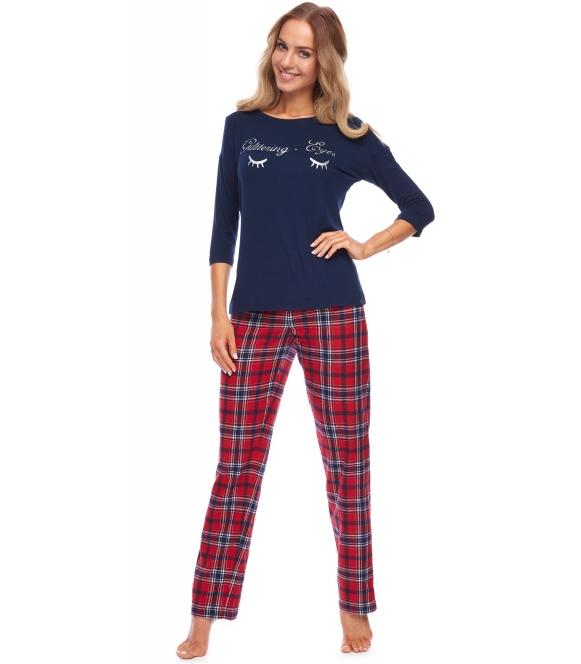 piżama damska spodnie w bordową kratę długie góra granatowa rękaw trzy czwarte nadruk na piersiach rossli paula