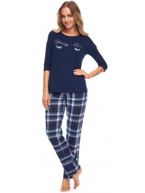 piżama damska ze spodniami w granatową kratę długimi koszulka granatowa z nadrukiem rossli nadia