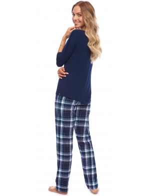 piżama damska długa koszulka z rękawami trzy czwarte modny nadruk na piersi spodnie w granatową kratę rossli nadia