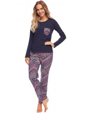 dwuczęściowa piżama rossli chloe góra granatowa z kolorową kieszonką spodnie do kostek