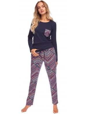 granatowa piżama damska z kieszonką dwuczęściowa góra granatowa spodkie kolorowe długie rossli chloe