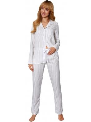 biała piżama damska w paseczki zapinana na guziczki długi rękaw spodnie długie wiązane w pasie rossli angelina