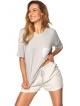 szaro biała piżama damska krótki rękaw i krótkie wiązane w pasie spodenki kieszonka rossli vicki