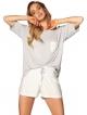 piżama damska szara góra z krótkim rękawem i kieszonką krótkie spodenki wiązane w pionowe paski rossli