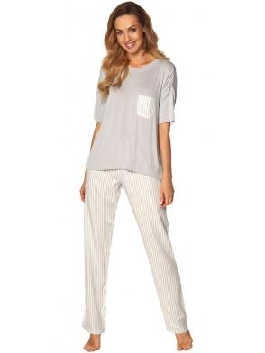 dwuczęściowa piżama damska z szarą górą z krótkim rękawem i kieszonką w prążki długie szare spodnie do kostek rossli victoria