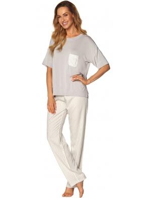 victoria piżama damska krótki rękaw z kieszonką spodnie długie do kostek rossli