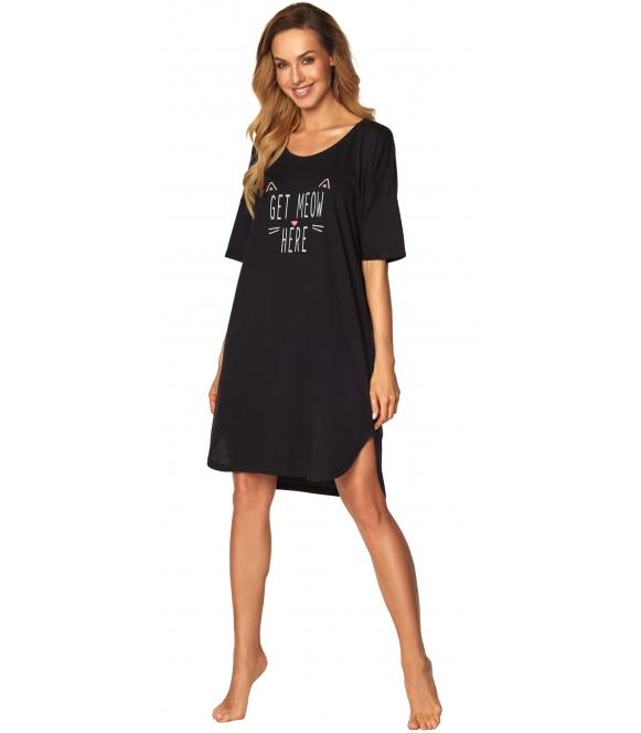 czarna koszula nocna z modnym nadrukiem krótki rękaw długość przed kolana rossli alice