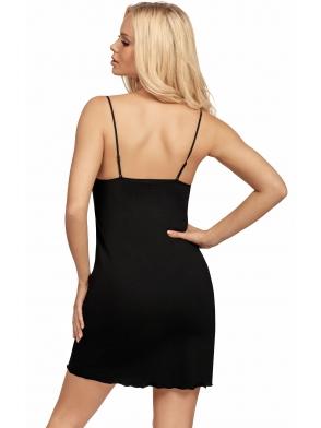 koszulka nocna z cieńkimi regulowanymi ramiączkami czarna z koronkowymi miseczkami donna patrizia black