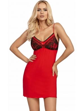 czerwona wiskozowa koszulka nocna z koronkowymi czarnymi kwiecistymi miseczkami odcięty biust głęboki dekolt donna patrizia