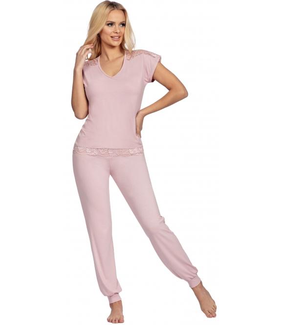 piżama damska pudrowo różowa krótki rękaw zakończony koronką długie spodnie zakończone ściągaczem donna lena pink