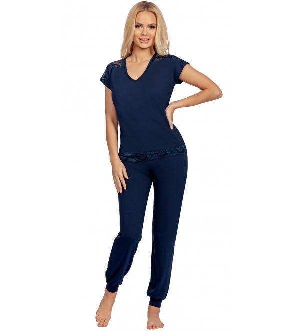 donna granatowa piżama damska krótki rękaw koszulka z koronkowymi ramionami długie spodnie zakończone ściągaczem lena dark blue