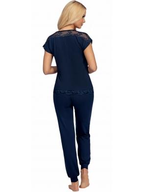 lena dark blue granatowa wiskozowa piżama damska z koronką koszulka krótki rękaw długie proste spodnie ze ściągaczem donna