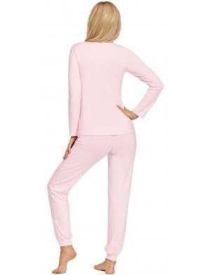 piżama damska z koronkowym dekoltem kolor różowy długi rękaw długie spodnie ze ściągaczem donna blanka pink