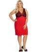 czerwona koszula nocna plus size z czarną koronką na miseczkach szerokie ramiączka długość przed kolana donna patrizia