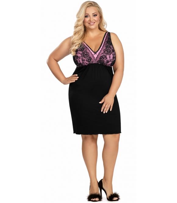 czarna wiskozowa koszula nocna plus size z koronkowymi szerokimi ramiączkami i miseczkami marszczona donna patrizia black