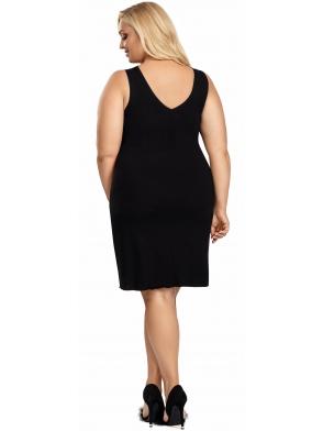 koszula nocna duże rozmiary  plus size czarna szerokie ramiączka i biustonosz koronka długość do kolan donna patrizia black