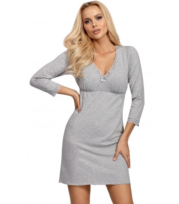 koszula nocna w kolorze szarym melange dekolt zdobiony koronką odcięty biust klasyczny fason do kolan donna blanka grey