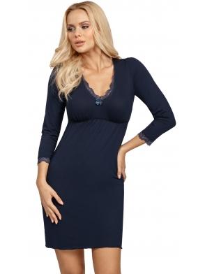 blanka dark blue koszulka nocna firmy donna w kolorze granatowym rękaw 3/4 zakończony koronką długość bielizny do połowy uda