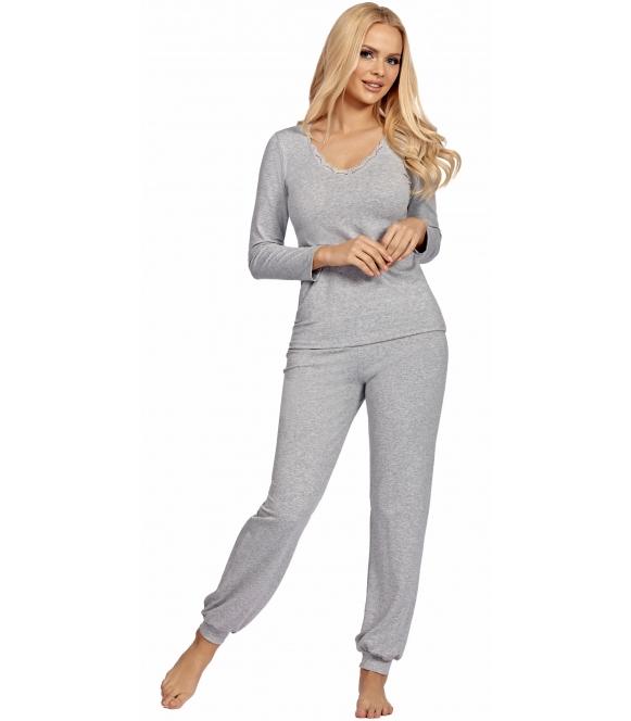 piżama damska szary melanż długi rękaw i długie spodnie dekolt ozdobiony ażurową koronką donna blanka grey melanż