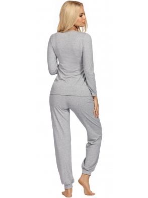 szara melanżowa dwuczęściowa piżama damska z długimi spodniami zakończonymi ściągaczami i długim rękawem donna melanż grey
