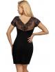 czarna koszulka nocna z haftem na dekolcie krótkich rękawach i plecach gładka tkanina długość przed kolano donna